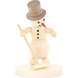 Snowman Curling Player with Broom  -  12cm / 4.7 inch