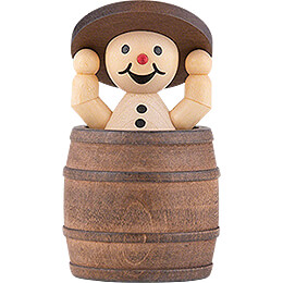 """Snowman  -  Junior """"in barrel and lid up""""  -  7cm / 2.8 inch"""