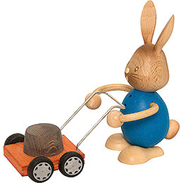 Snubby Bunny with Lawn Mower  -  12cm / 4.7 inch