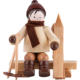 Thiel Figurine  -  Skier on Bench  -  natural  -  5,5cm / 2.2 inch