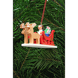 Tree Ornament  -  Angel in Reindeer Sleigh  -  9,7cm / 3.8 inch