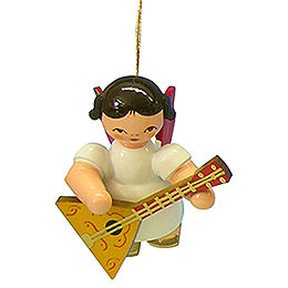 Tree Ornament  -  Angel with Balalaika  -  Red Wings  -  Floating  -  5,5cm / 2,1 inch