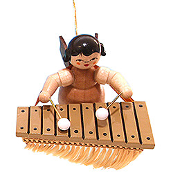 Tree Ornament  -  Angel with Bass Xylophone  -  Natural Colors  -  Floating  -  5,5cm / 2.2 inch