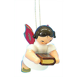 Tree Ornament  -  Angel with Bible  -  Red Wings  -  Floating  -  6cm / 2,3 inch