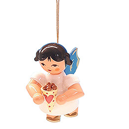 Tree Ornament  -  Angel with Candied Almonds  -  Blue Wings  -  Floating  -  5,5cm / 2.2 inch