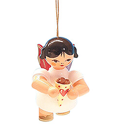 Tree Ornament  -  Angel with Candied Almonds  -  Red Wings  -  Floating  -  5,5cm / 2.2 inch