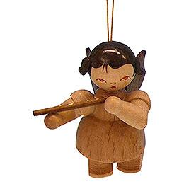 Tree Ornament  -  Angel with Flute  -  Natural Colors  -  Floating  -  5,5cm / 2,1 inch