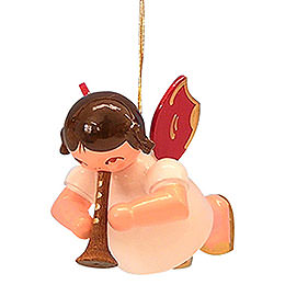 Tree Ornament  -  Angel with Flute  -  Red Wings  -  Floating  -  5,5cm / 2,1 inch