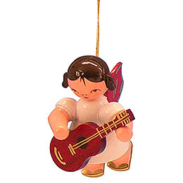 Tree Ornament  -  Angel with Guitar  -  Red Wings  -  Floating  -  5,5cm / 2,1 inch