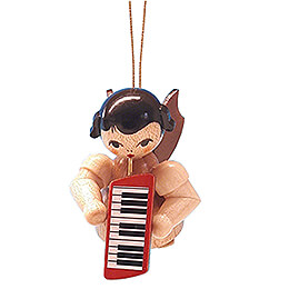 Tree Ornament  -  Angel with Melodica  -  Natural Colors  -  Floating  -  5,5cm / 2.2 inch