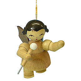 Tree Ornament  -  Angel with Microphone  -  Natural Colors  -  Floating  -  5,5cm / 2,1 inch