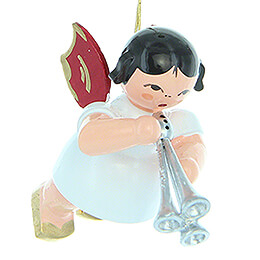 Tree Ornament  -  Angel with Shawm  -  Red Wings  -  Floating  -  5,5cm / 2.2 inch