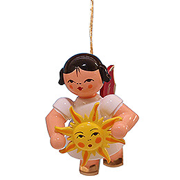 Tree Ornament  -  Angel with Sun  -  Red Wings  -  Floating  -  5,5cm / 2.2 inch