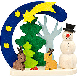 Tree Ornament  -  Arch and Snowman with Bunnies  -  7cm / 2.8 inch