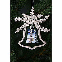 Tree Ornament  -  Hand Painted Glass Bell Church of Seiffen, Set of Three  -  9x8cm / 3.5x3. inch