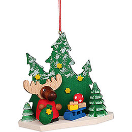 Tree Ornament  -  Moose Santa in the Forest  -  8,6cm / 3.4 inch