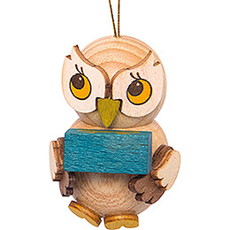 Tree Ornament  -  Owl Child with Present  -  4cm / 1.6 inch