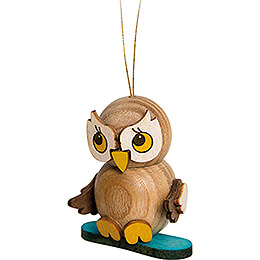Tree Ornament  -  Owl Child with Snowboard  -  4cm / 1.6 inch