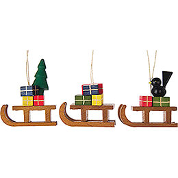Tree Ornament  -  Sled, 3 pcs.  -  5cm / 2 inch