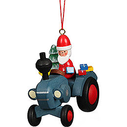Tree Ornament Tractor with Santa Claus  -  5,7x5,6cm / 2.3x2.3 inch