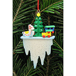 Tree Ornament  -  Tree with Toys on Icicle  -  4,5x7,8cm / 1.7x3 inch