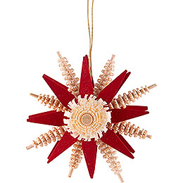 Tree Ornament  -  Wood Chip Star  -  Red  -  7cm / 2.8 inch